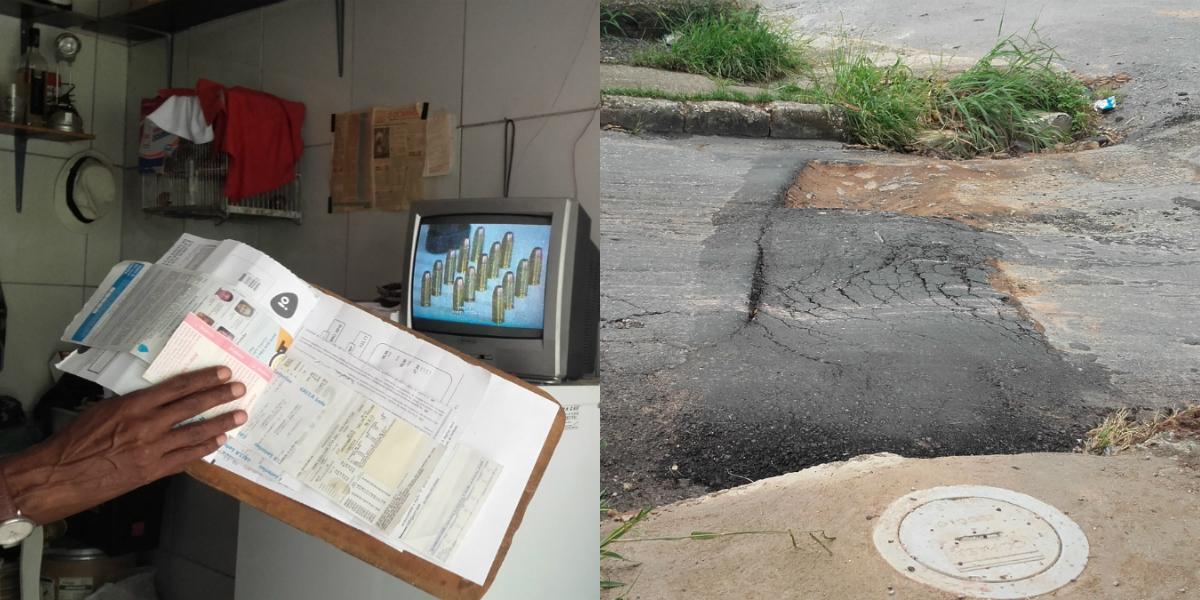 Colagem de duas fotos. Na foto da direita, Hélio mostra a conta de água. No segundo plano, uma TV mostra balas de revólver. Na segunda foto, uma rua com buracos entre uma caixa da Copasa no chão e um bueiro.